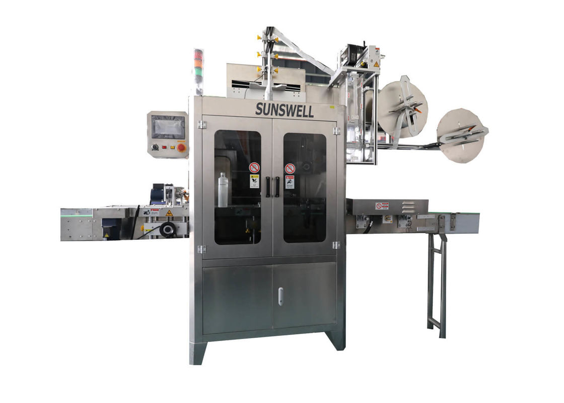PVC Label Sleeve Heat Shrink Labeling Machine For Plastic Water Juice Bottle